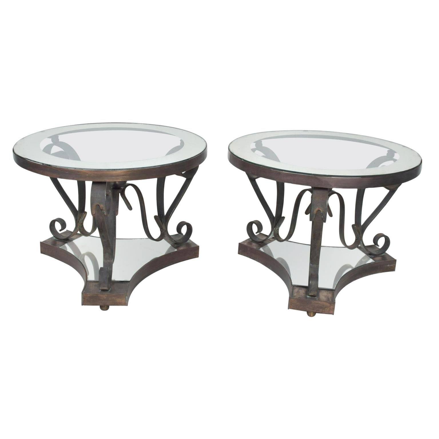 Midcentury Mexican Modernist Arturo Pani Bronze Iron Side Tables