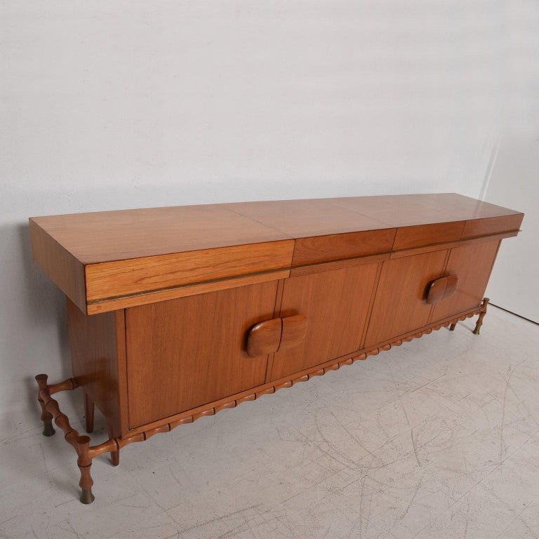 Midcentury Mexican Modernist Floating Bamboo Credenza, Frank Kyle, 1960s For Sale 4