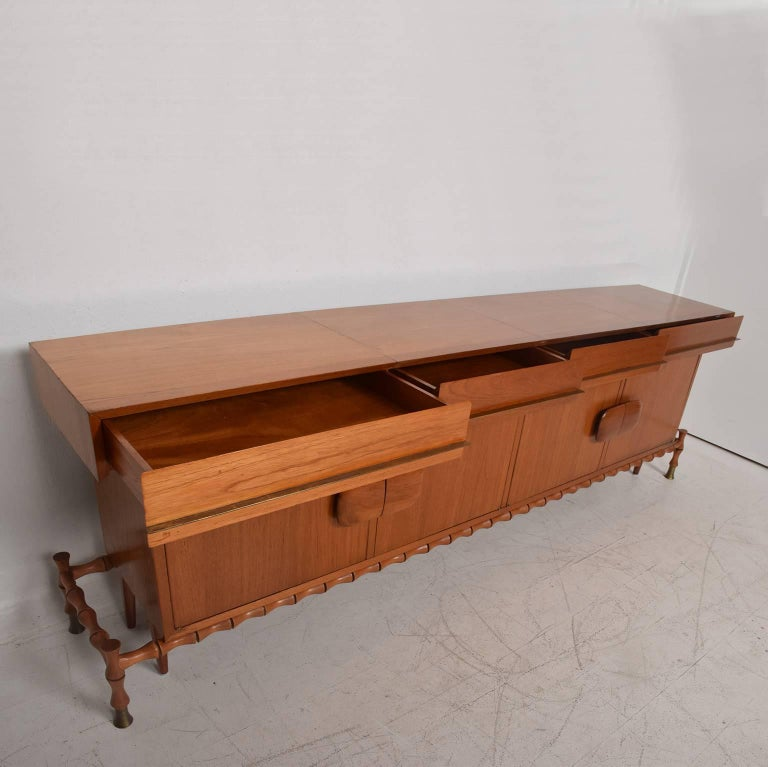Mid-Century Modern Midcentury Mexican Modernist Floating Bamboo Credenza, Frank Kyle, 1960s For Sale