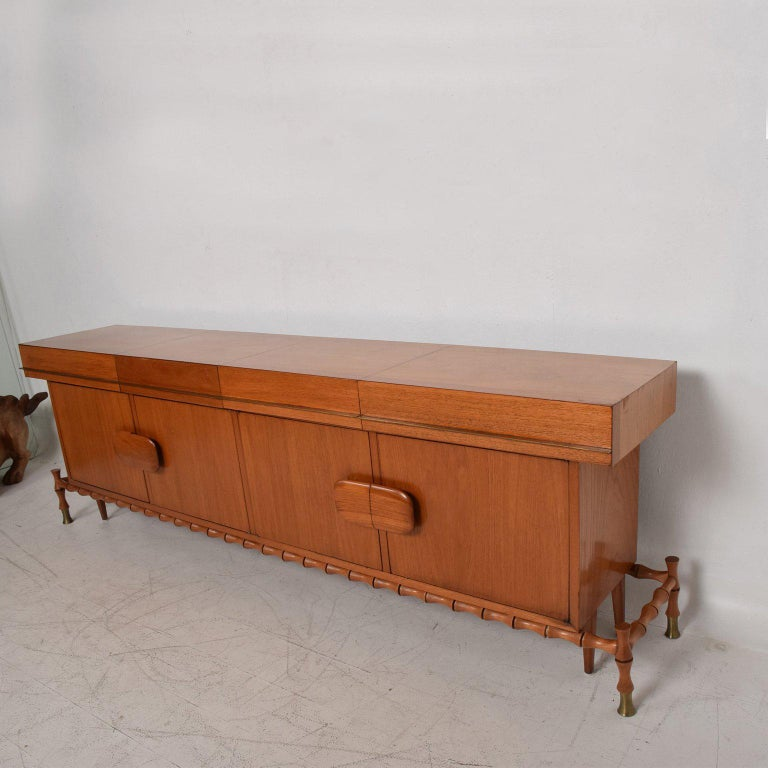 Midcentury Mexican Modernist Floating Bamboo Credenza, Frank Kyle, 1960s For Sale 3