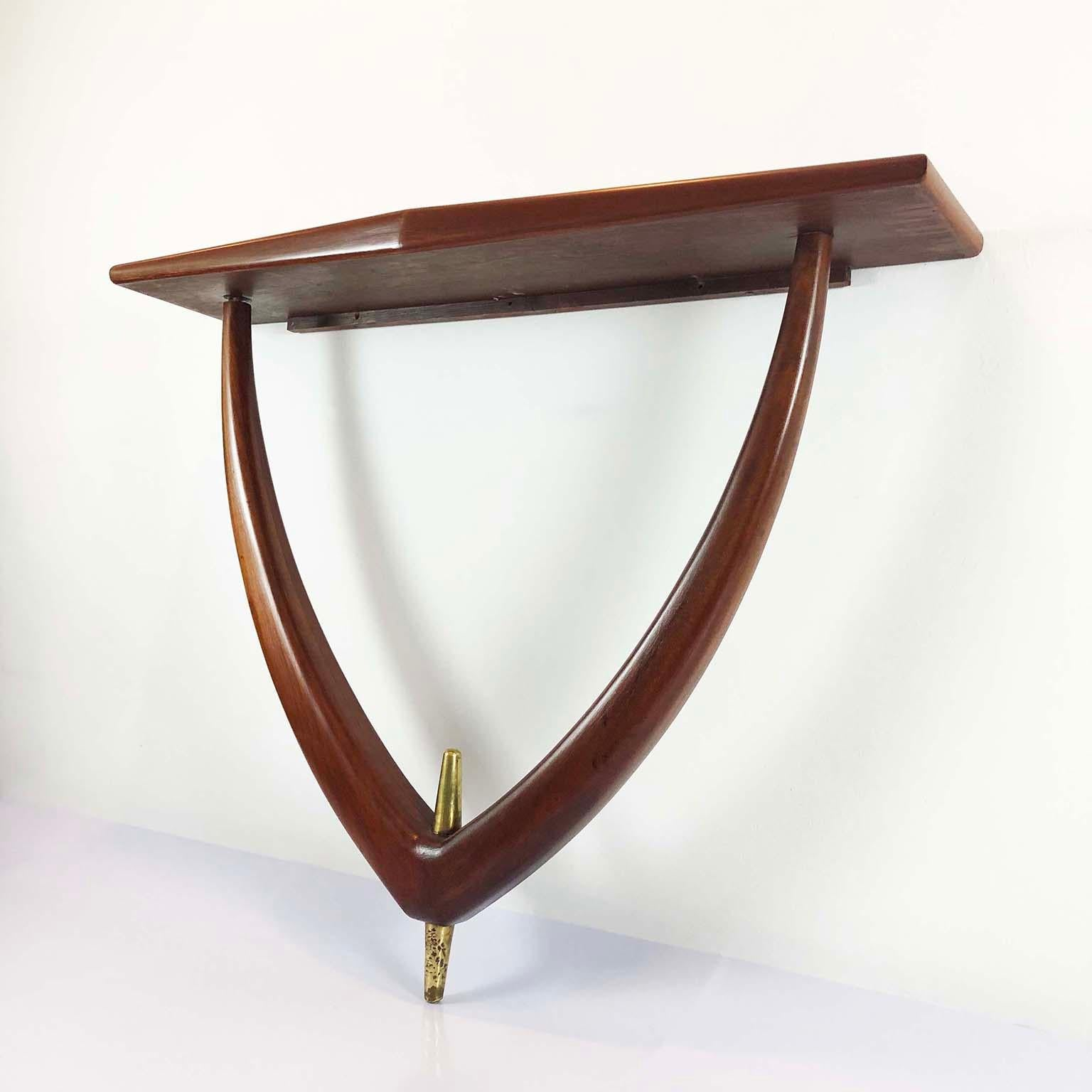Midcentury Mexican Modernist Wall Mount Curvy Console By Eugenio Escudero