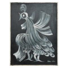 Midcentury Mexican Rooster Art Modernist Oil in Canvas by Gustavo Martinez