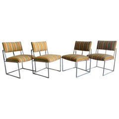 Midcentury Milo Baughman for Thayer Coggin Dining Chairs in Chrome Set of Four