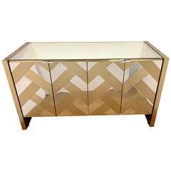 Midcentury Ello Milo Baughman Mirrored Credenza Dry Bar Cabinet Server Buffet