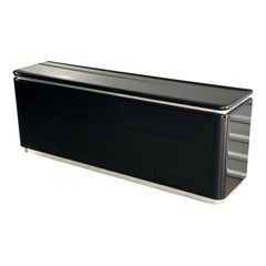 Midcentury Milo Baughman Style Modernist Black and Chrome Credenza