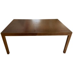 Midcentury Milo Baughman Walnut Expandable Parsons Dining Table with '2' Leaves
