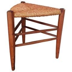 Midcentury Minimal Rustic Primitive Stool, Style Perriand, 1960