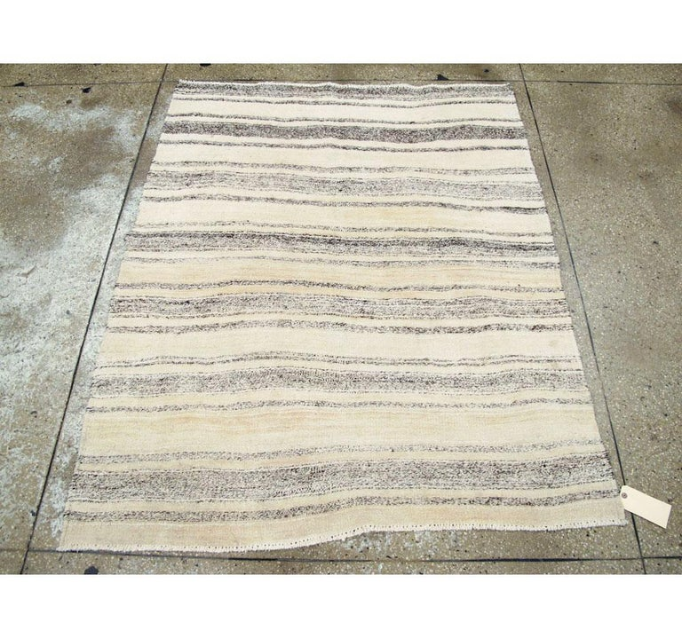 Hand-Woven Midcentury Minimalist Handmade Persian Flatweave in Cream, Ivory, and Brown For Sale