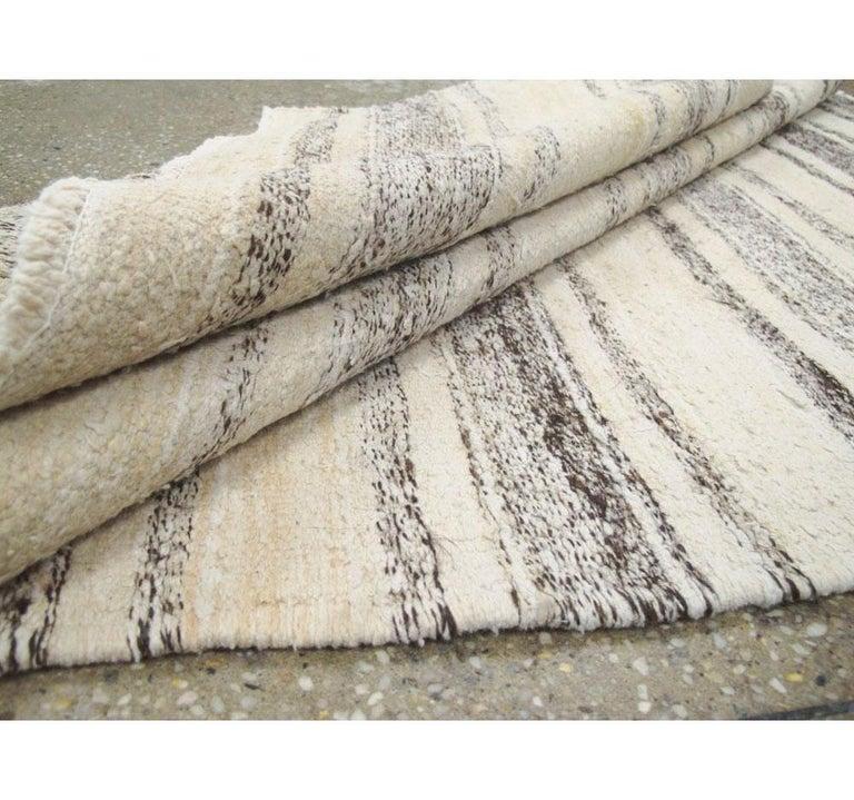 Midcentury Minimalist Handmade Persian Flatweave in Cream, Ivory, and Brown For Sale 1