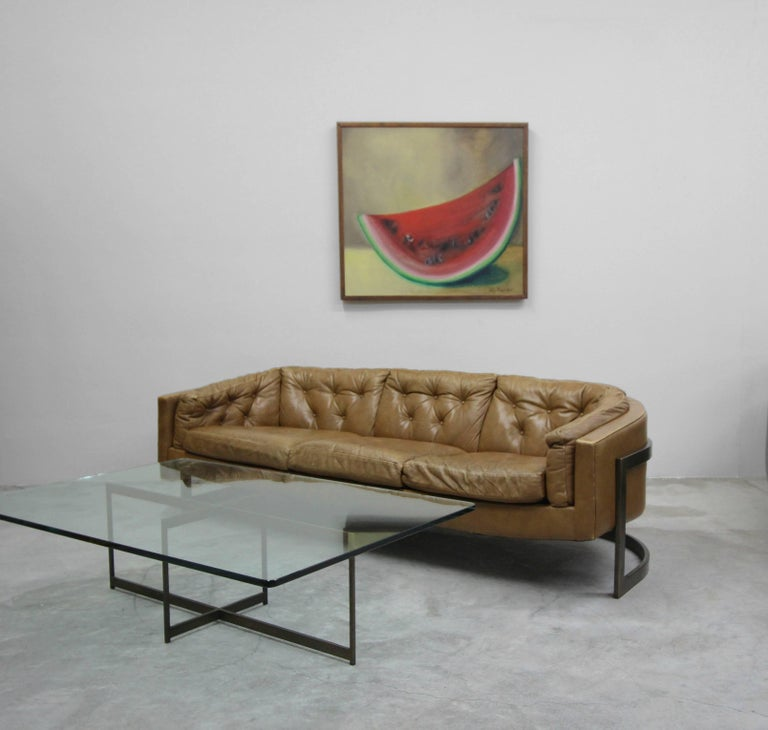 Mid-Century Modern Midcentury Minimalist Italian Bronze Base Coffee Table For Sale