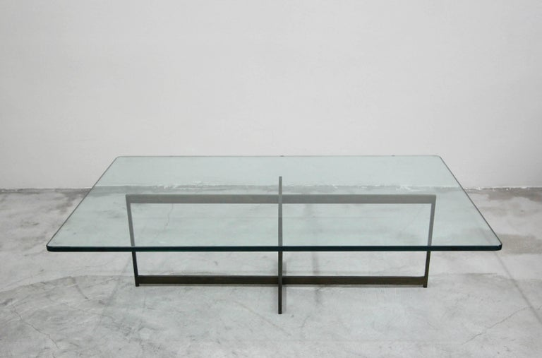 Midcentury Minimalist Italian Bronze Base Coffee Table In Excellent Condition For Sale In Las Vegas, NV