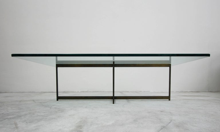 20th Century Midcentury Minimalist Italian Bronze Base Coffee Table For Sale