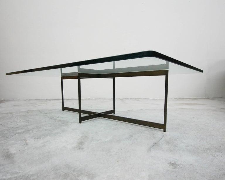 Midcentury Minimalist Italian Bronze Base Coffee Table For Sale 1