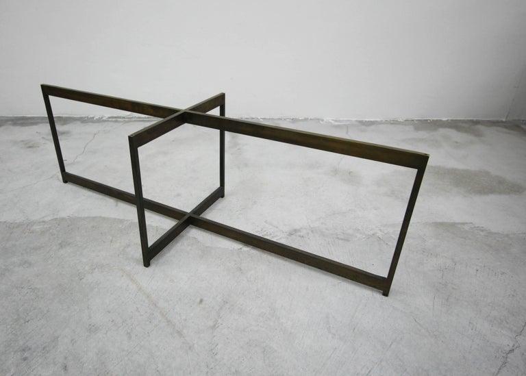 Midcentury Minimalist Italian Bronze Base Coffee Table For Sale 2