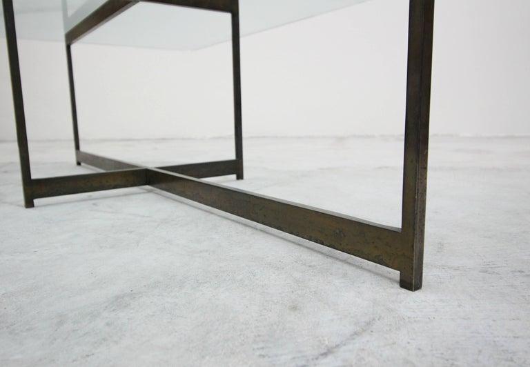 Midcentury Minimalist Italian Bronze Base Coffee Table For Sale 3