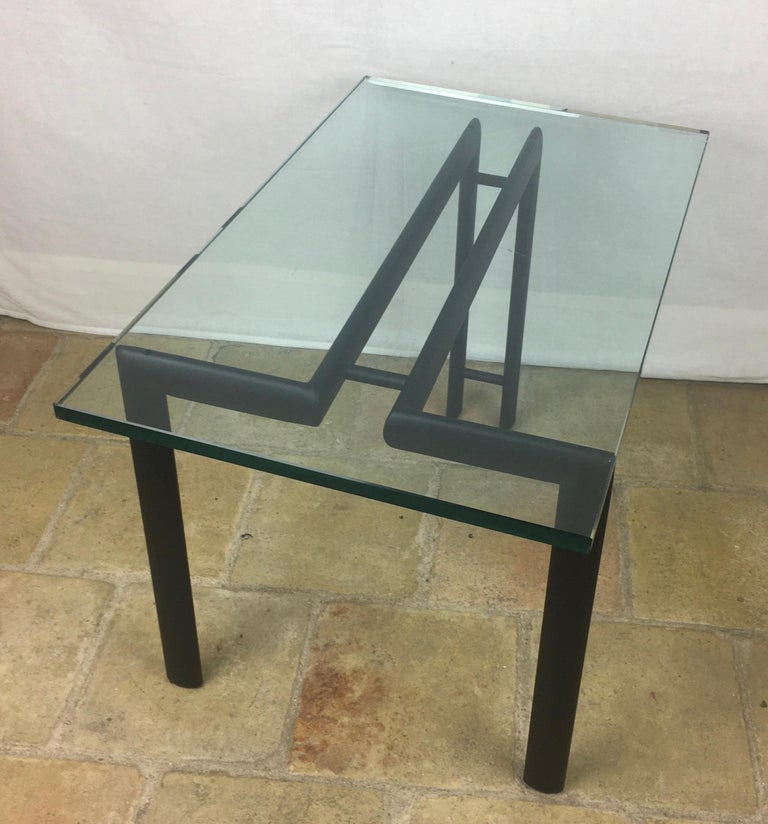 French Midcentury Minimalist Metal and Glass End or Side Table For Sale