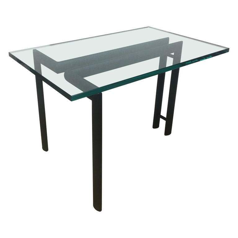 Midcentury Minimalist Metal and Glass End or Side Table For Sale