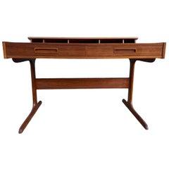 Midcentury Minimalist Teak 2-Drawer Desk with Pop Up Organizer Made in Denmark