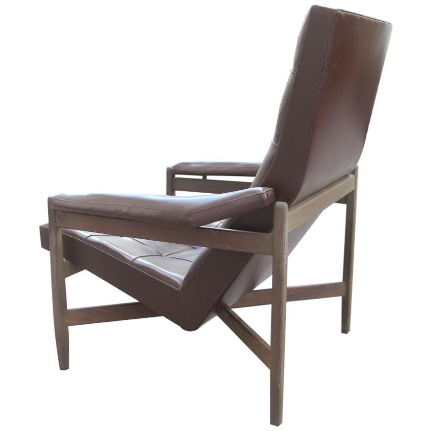 Midcentury Minotti Armchair Brown Color Italian Design 1950 Faux Leather