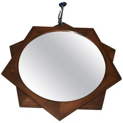 Midcentury Mirror in Rosewood at 10-Pointed Star Shape, Italian Design, 1970s