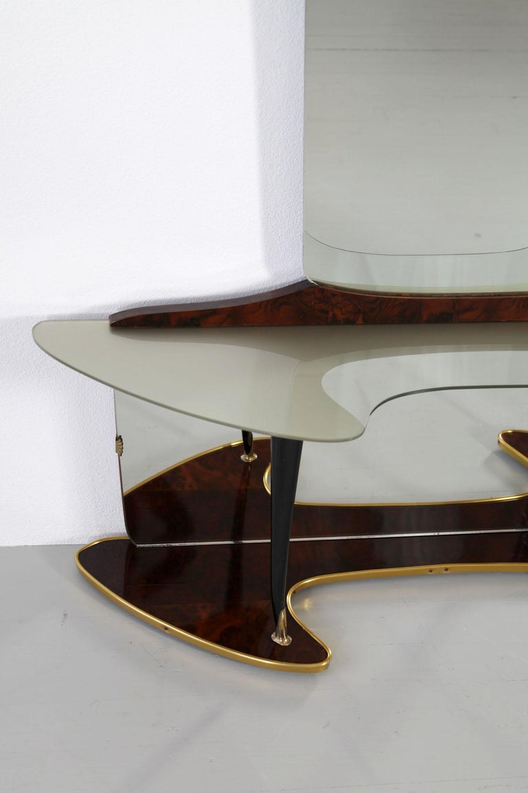 Mid-Century Modern Midcentury Mirror Vanity with Opulent Base, Wooden Elements and Brass Fixtures For Sale