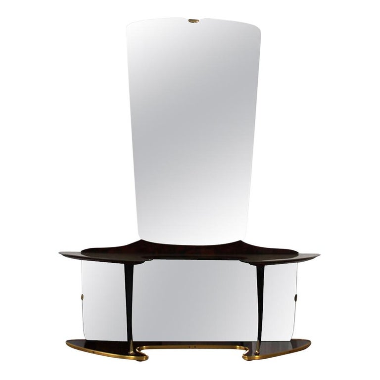 Midcentury Mirror Vanity with Opulent Base, Wooden Elements and Brass Fixtures For Sale