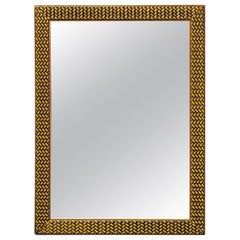 Midcentury Mirror with Woven Texture Gilded Finish Frame