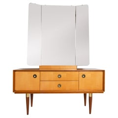 Midcentury Mirrored Dressing Table in Sycamore and Walnut, France, circa 1950