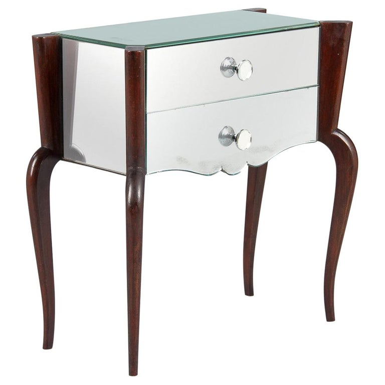 Midcentury Mirrored Venetian Glass and Rosewood Two-Drawer Chest, 1950s For Sale