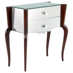 Midcentury Mirrored Venetian Glass and Rosewood Two-Drawer Chest, 1950s