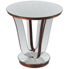 Midcentury Mirrored Venetian Glass Side Table, France, 1950s