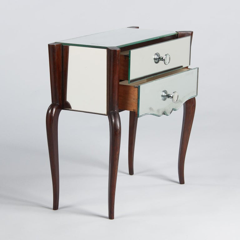 Midcentury Mirrored Venetian Glass and Rosewood Two-Drawer Chest, 1950s For Sale 5