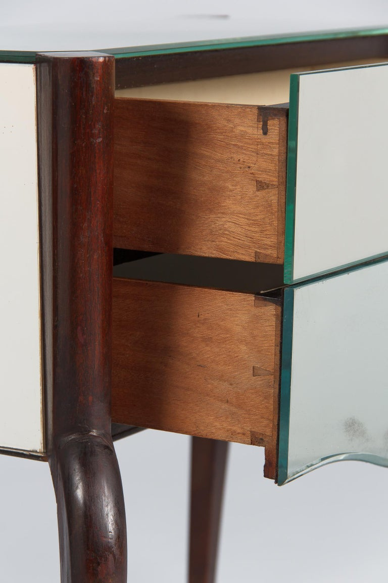 Midcentury Mirrored Venetian Glass and Rosewood Two-Drawer Chest, 1950s For Sale 6