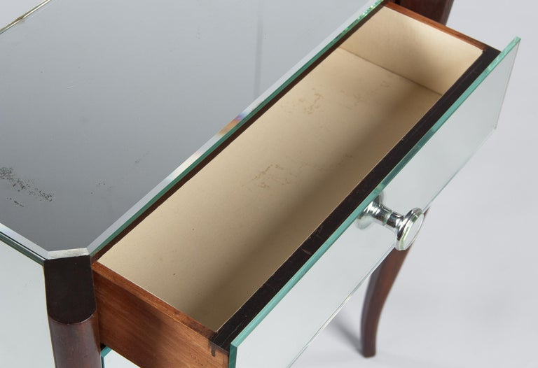 Midcentury Mirrored Venetian Glass and Rosewood Two-Drawer Chest, 1950s For Sale 7