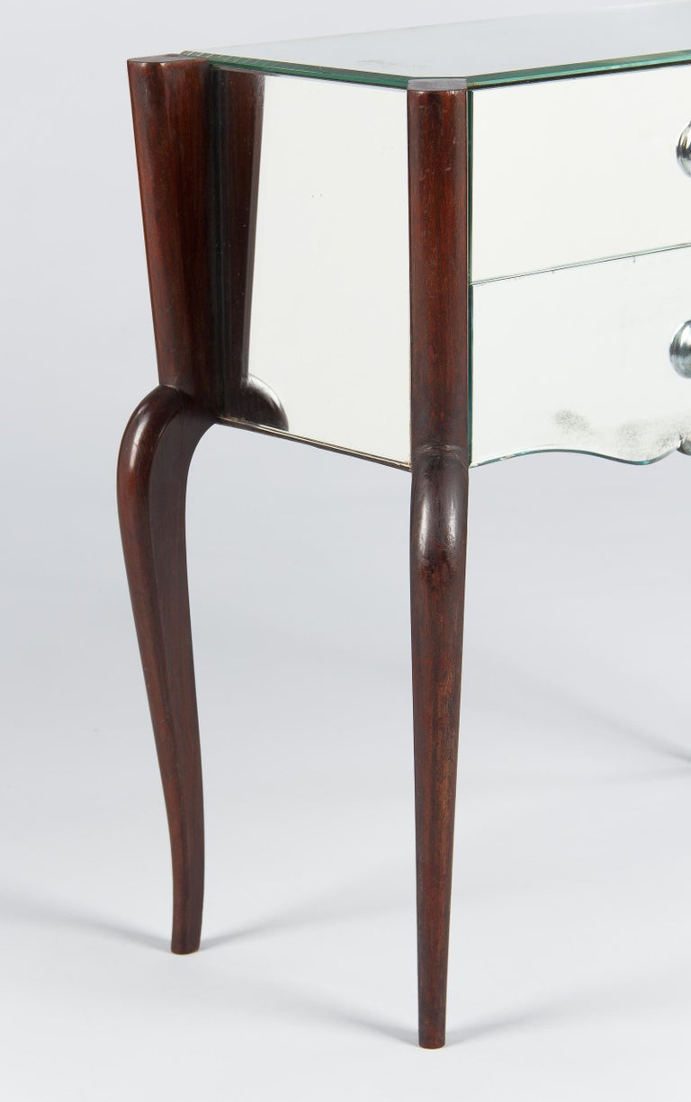 Midcentury Mirrored Venetian Glass and Rosewood Two-Drawer Chest, 1950s For Sale 9