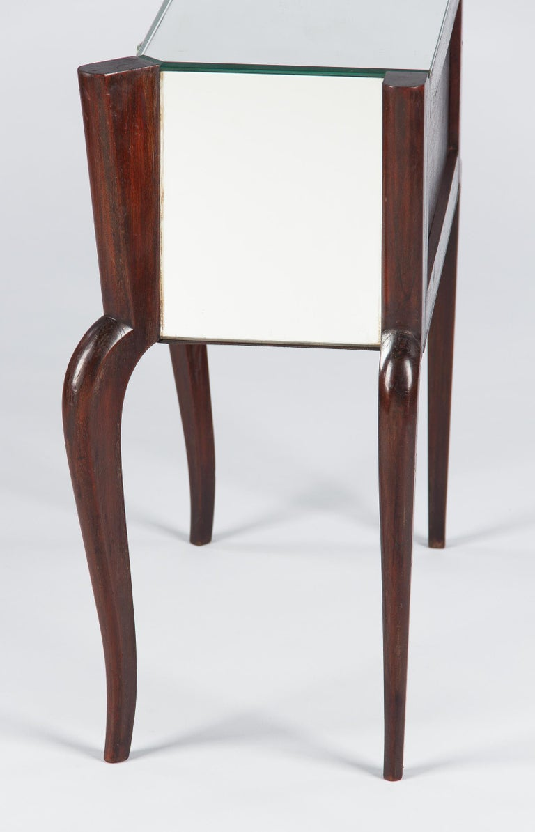 Midcentury Mirrored Venetian Glass and Rosewood Two-Drawer Chest, 1950s For Sale 11