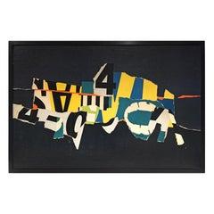 Midcentury Mixed-Media Modernist Typographic Collage