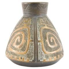Midcentury Mixed Metal Brutalist Bronze Vase