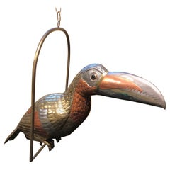 Midcentury Mixed Metals Toucan Bird Sculpture Signed by Sergio Bustamante