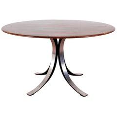Midcentury Mod T69, Borsani for Tecno Wood and Metal Circular Table, Italy 1960s