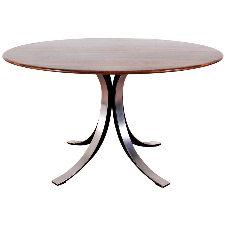 Midcentury Mod T69, Borsani for Tecno Wood and Metal Circular Table, Italy 1960s For Sale