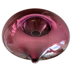 Mid-Century Modern Cranberry Glass & Droplet Shape Flushmount Ceiling Light