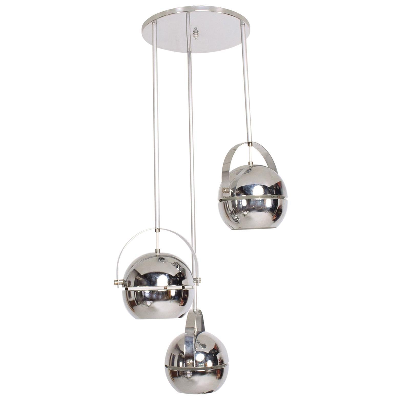 Midcentury Modern 1960s Torino Chrome Pendant by Lightolier Dangling Spheres
