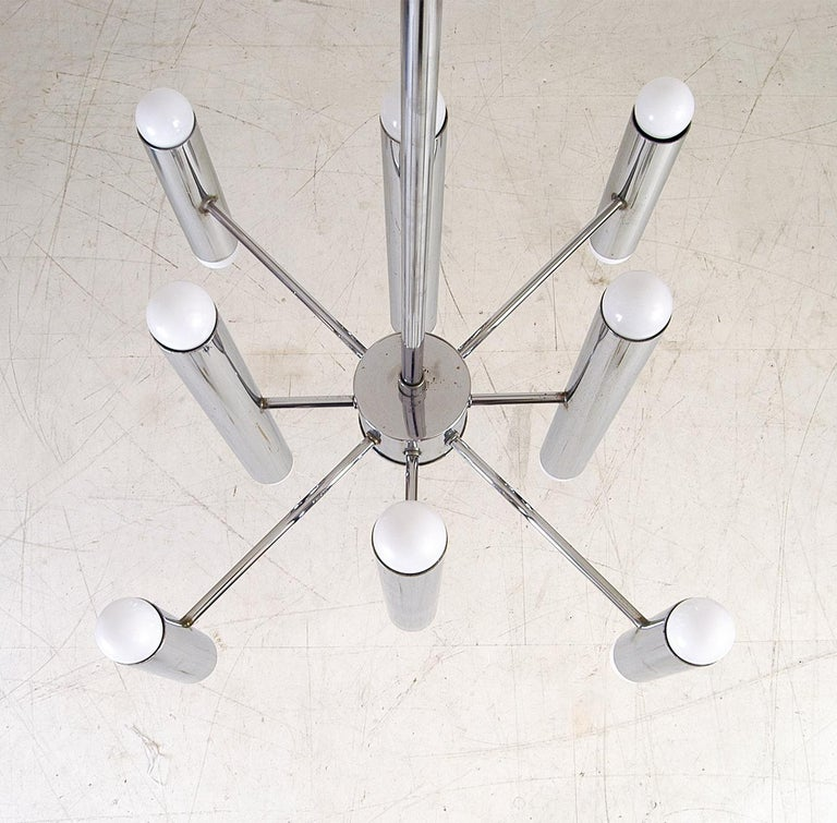20th Century Mid-Century Modern 1970s Italian Sciolari Style Chrome Ceiling Lamp Chandelier For Sale