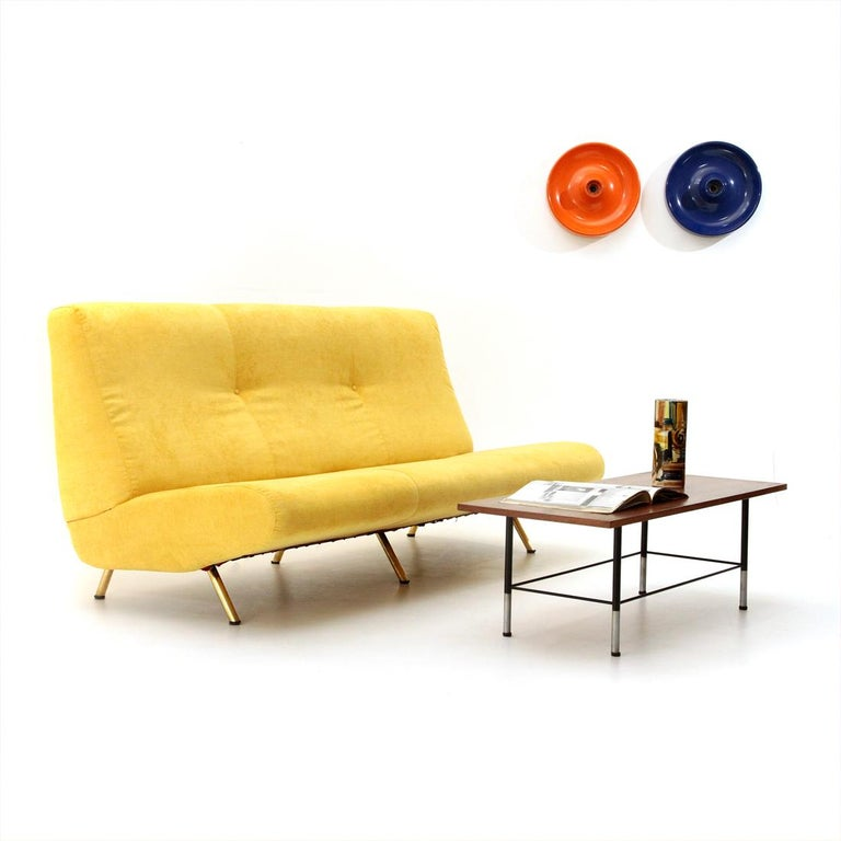 Mid-Century Modern 3-Seat Yellow Velvet Sofa by Marco Zanuso for Arflex, 1950s For Sale 5