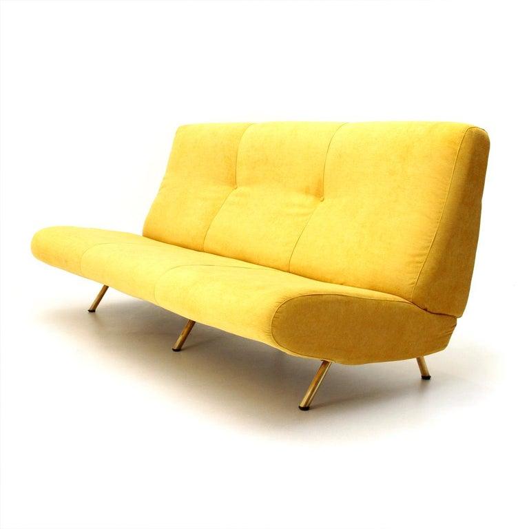 Italian Mid-Century Modern 3-Seat Yellow Velvet Sofa by Marco Zanuso for Arflex, 1950s For Sale