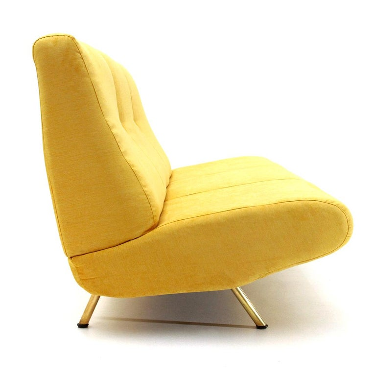Mid-20th Century Mid-Century Modern 3-Seat Yellow Velvet Sofa by Marco Zanuso for Arflex, 1950s For Sale