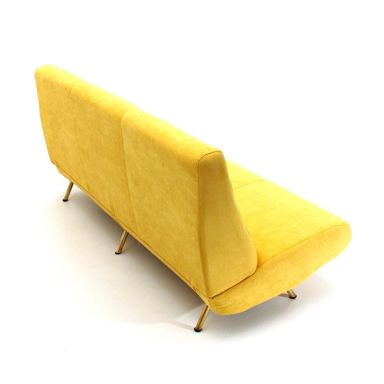 Metal Mid-Century Modern 3-Seat Yellow Velvet Sofa by Marco Zanuso for Arflex, 1950s For Sale