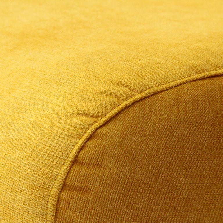 Mid-Century Modern 3-Seat Yellow Velvet Sofa by Marco Zanuso for Arflex, 1950s For Sale 3