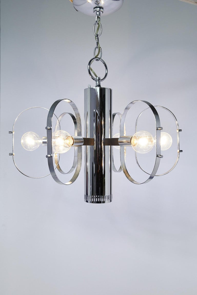 American Mid-Century Modern 7-Light Chrome Fixture by Forecast Lighting For Sale
